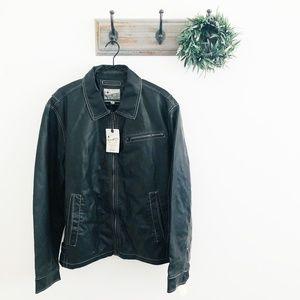 NWT Lucky Brand Black James Dean PU Jacket XL